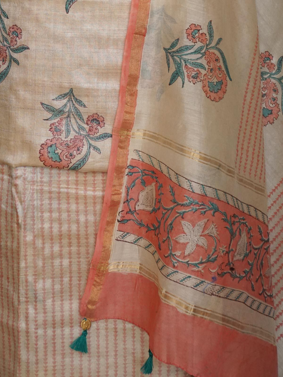 Beige tussar cotton block printed dress material with multicolored dupatta