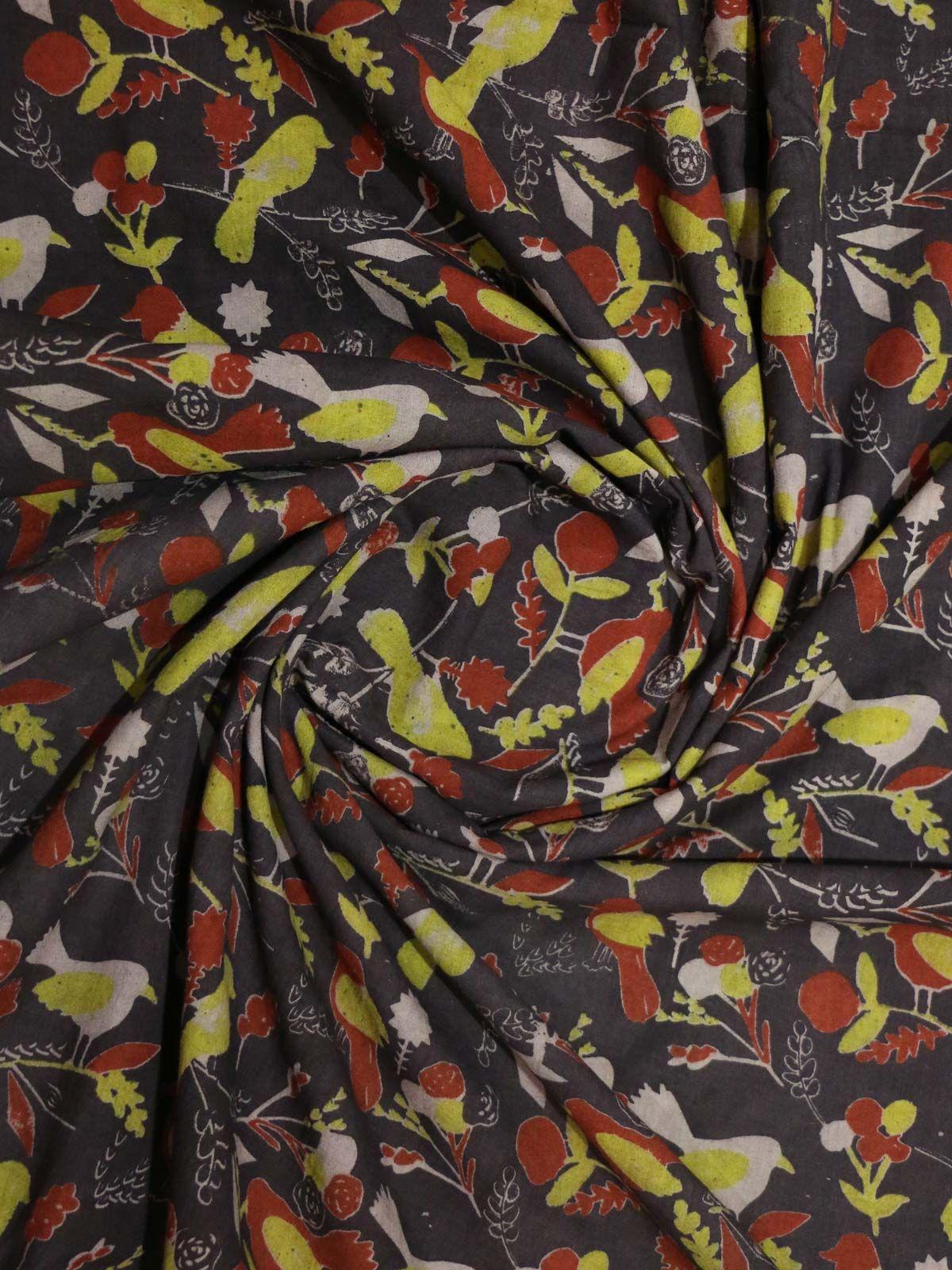 Multi color hand block printed kalamkari cotton fabric
