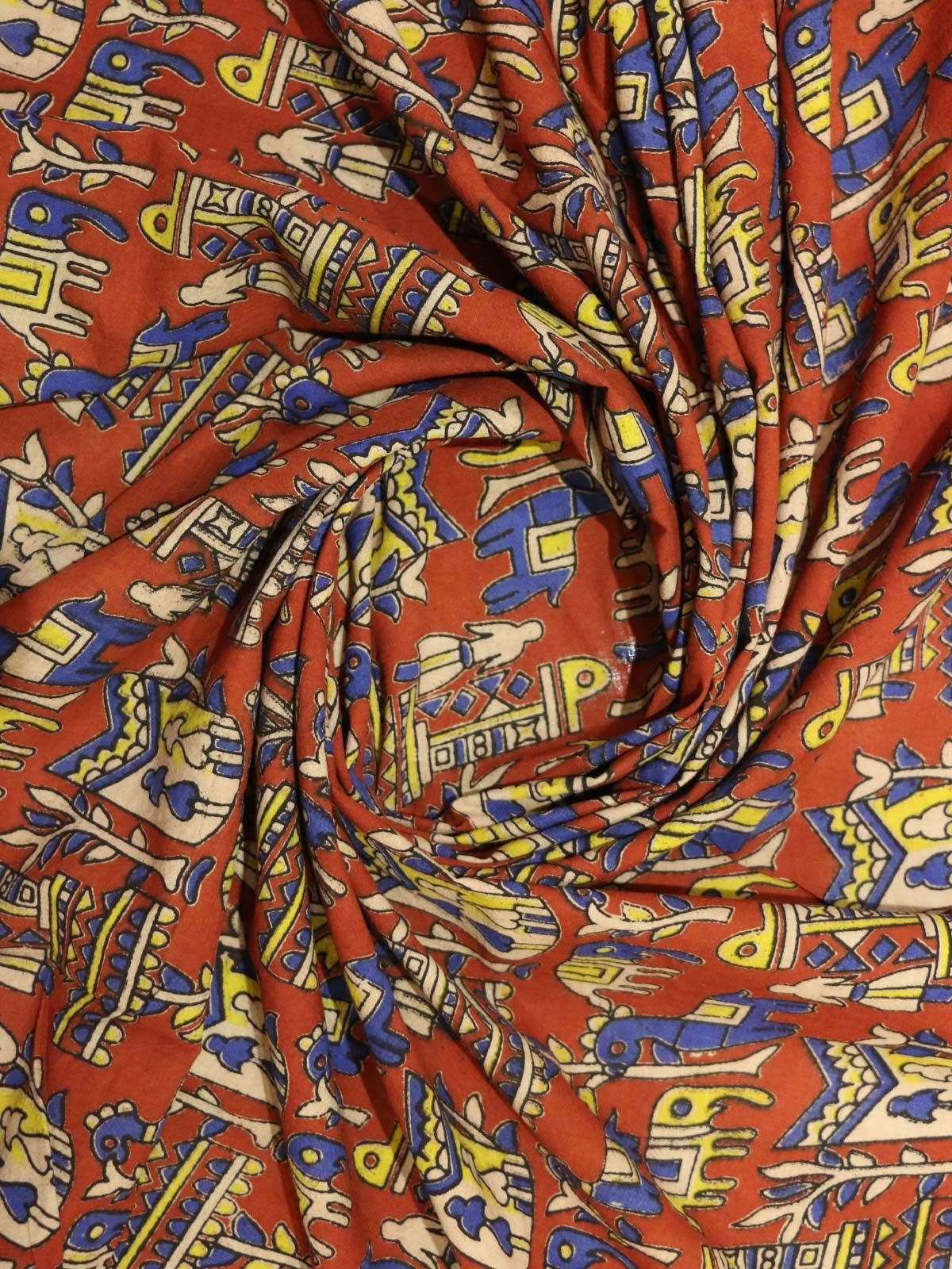 Detailed hand block printed kalamkari cotton fabric