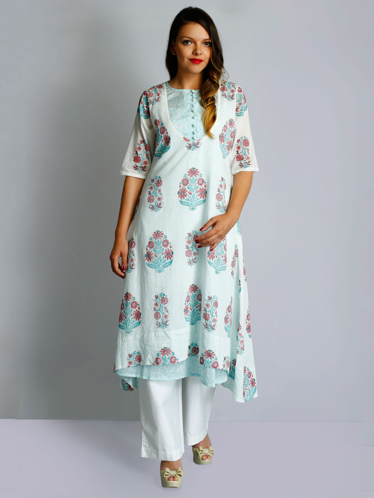 White cotton voile blue hand block prints layered tunic