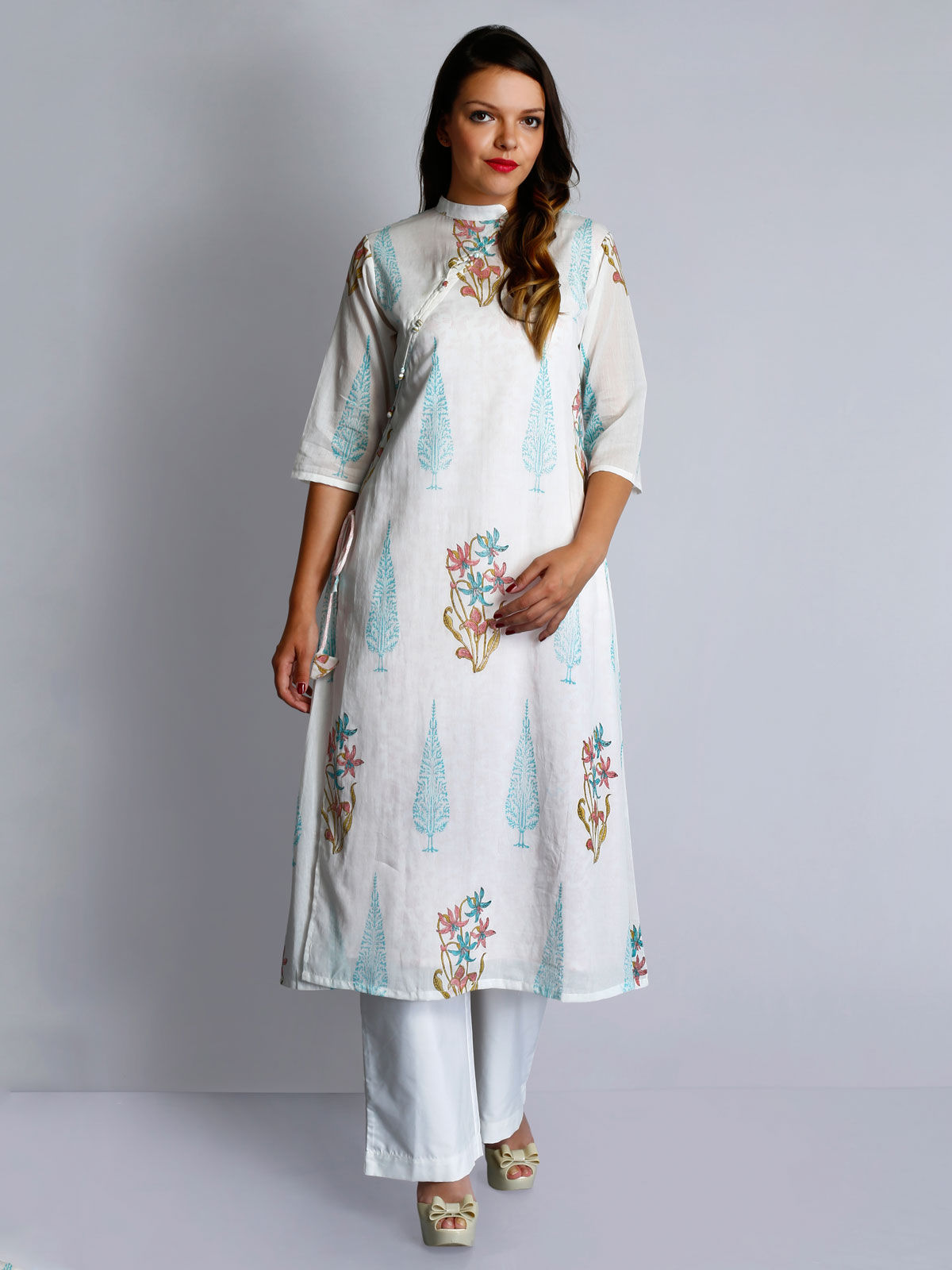 White cotton voile hand block printed layered tunic