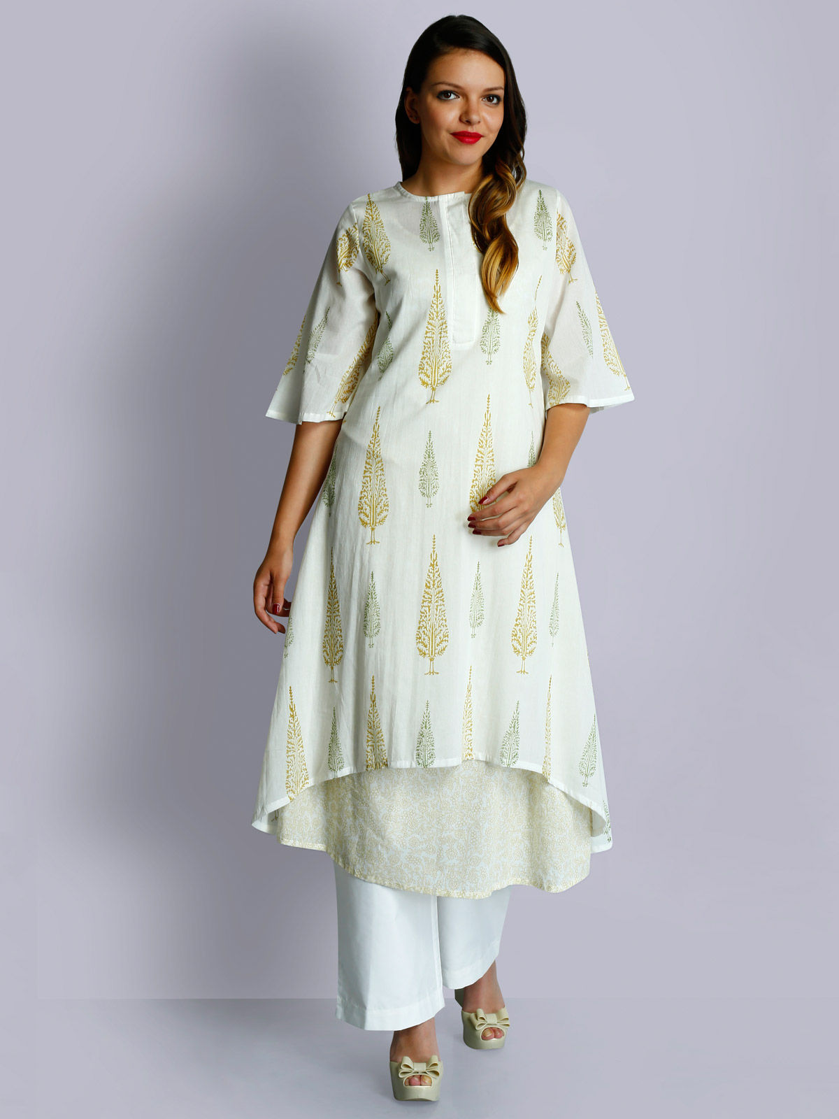 Off-white cotton voile round neck golden hand block printed layered tunic