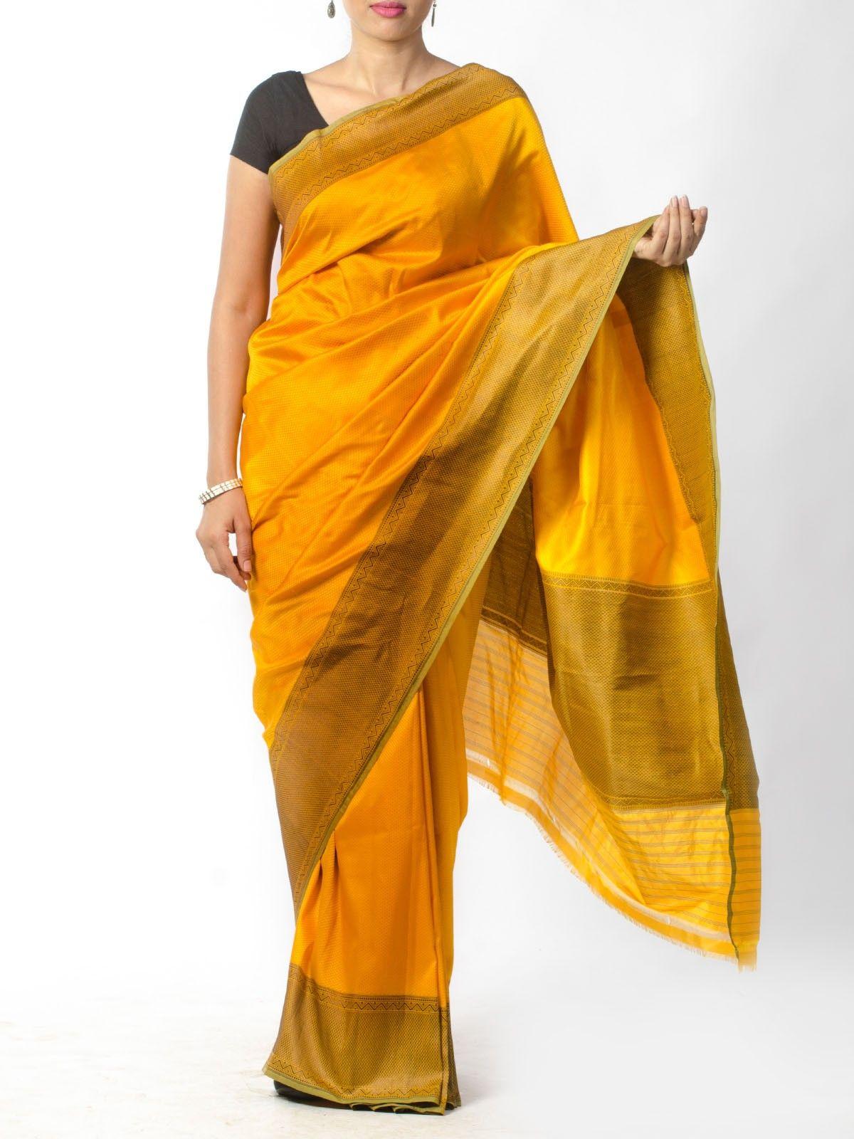 Yellow Tanchoi Saree
