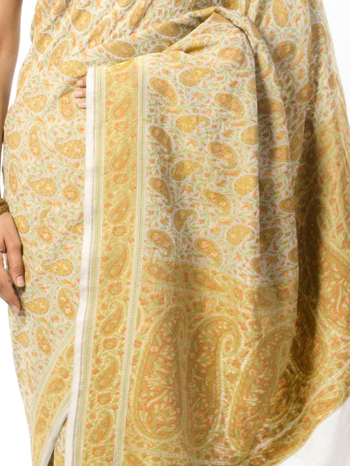 Off White Yellow Jamdani Saree