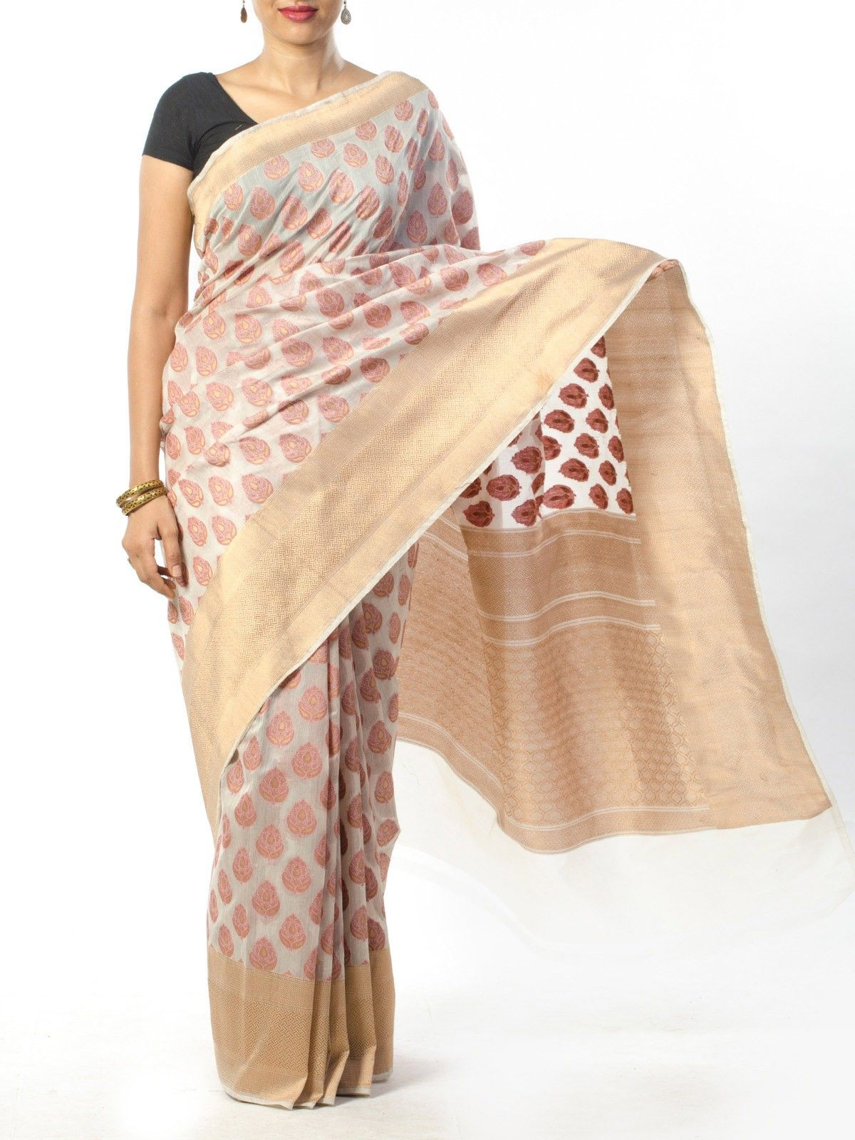 Off White Banarasi Saree with Zari Work