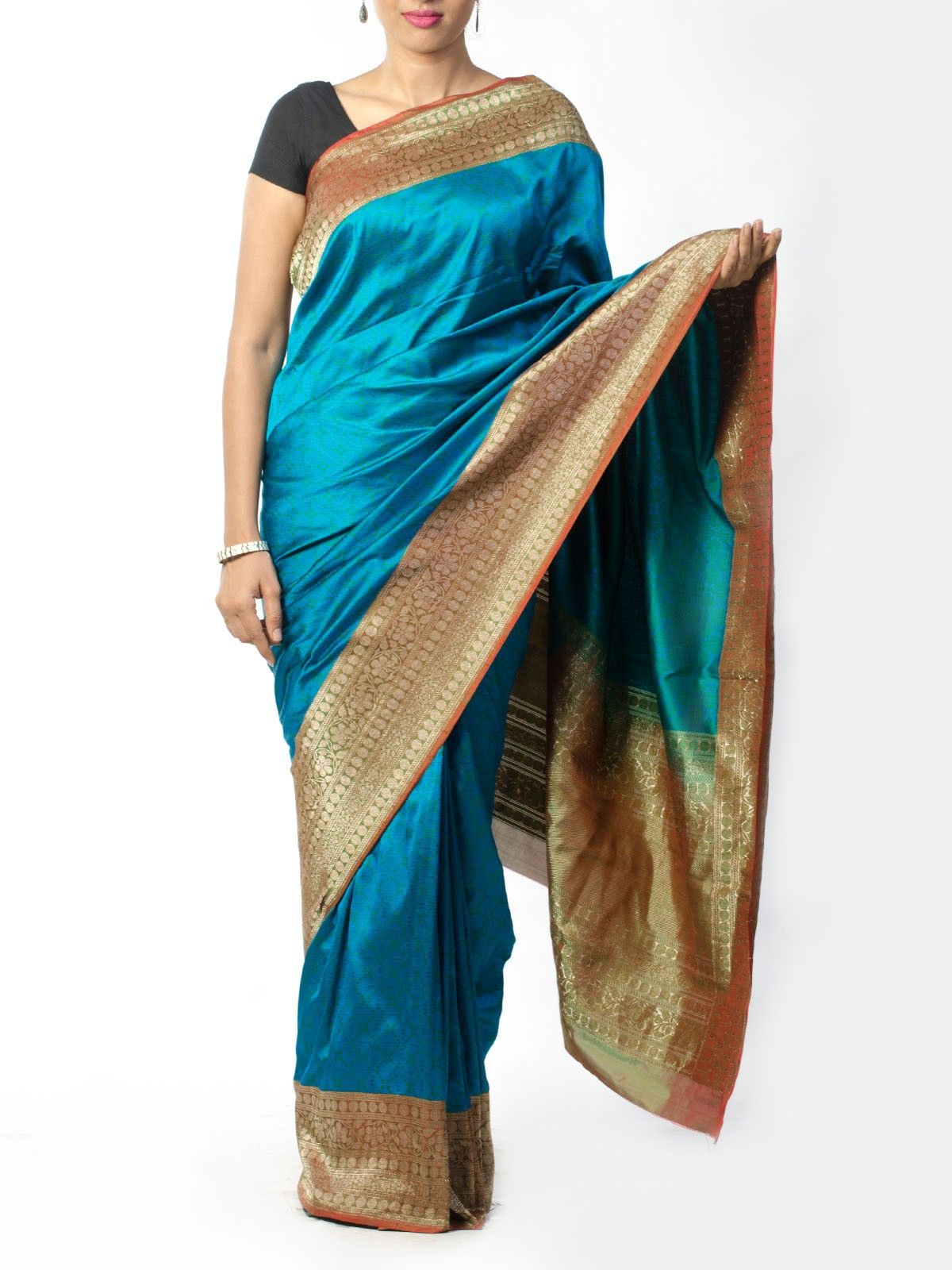 Blue Banarsi Saree with Zari Border