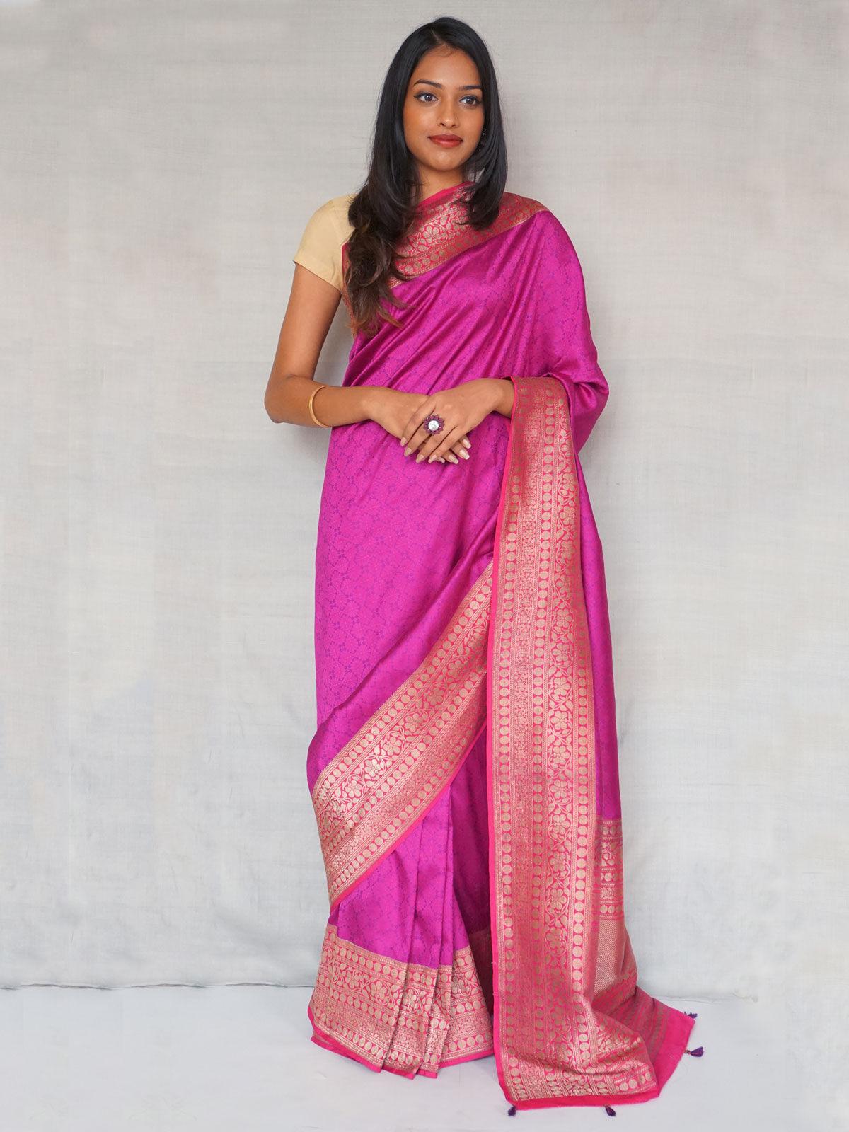 Purple banarasi  pure  silk  with blouse.