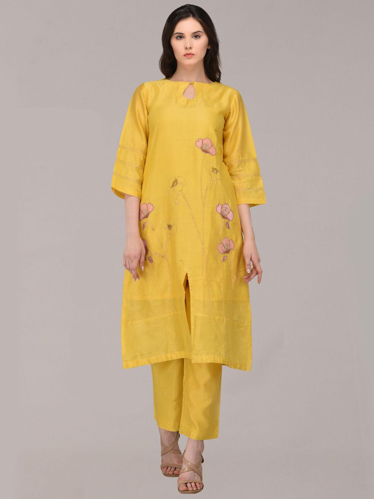 Kalika applique embroided mustard Chanderi kurta &  bottom set