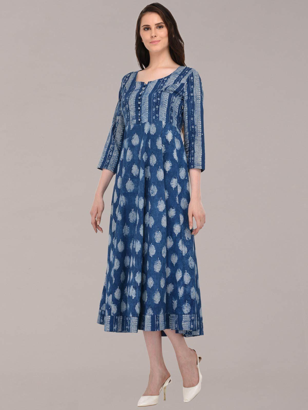 Azure indigo color hand-block printed cotton long dress