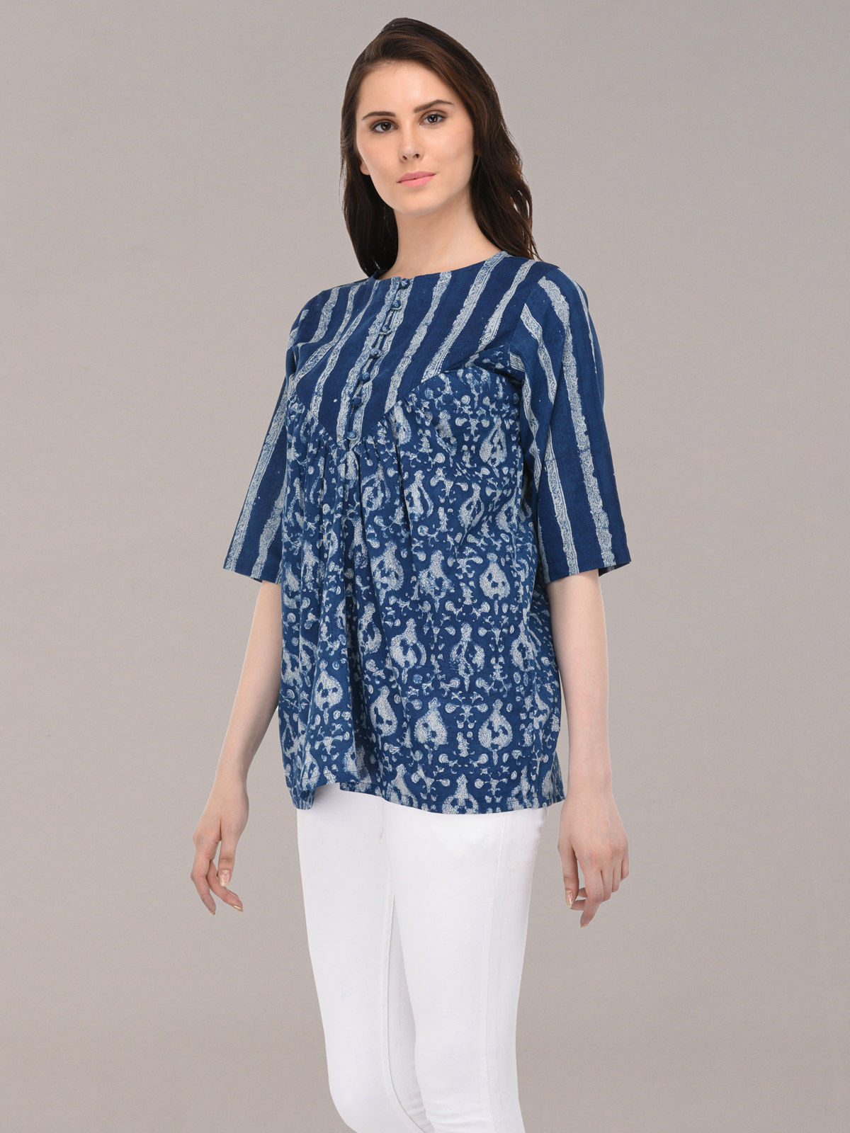 Azure indigo color hand-block printed  cotton top