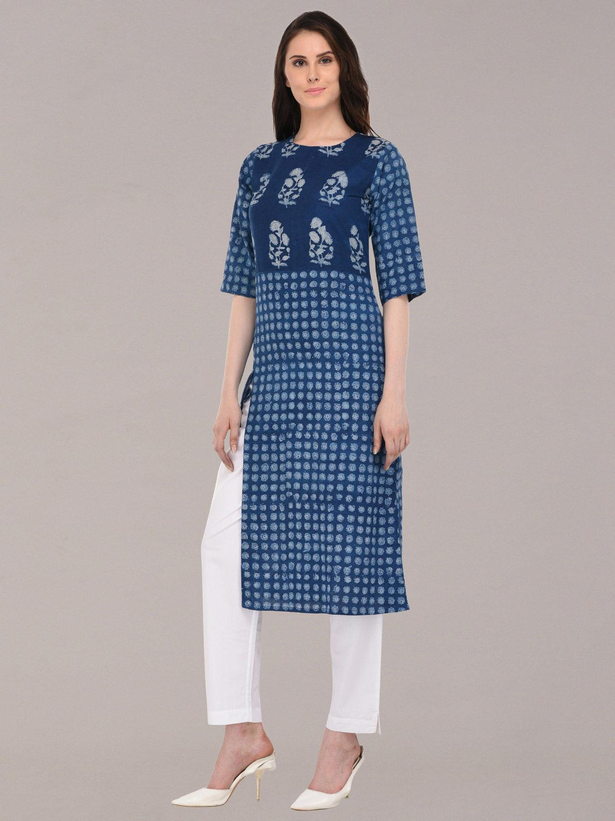 Azure indigo color hand-block printed  cotton kurti
