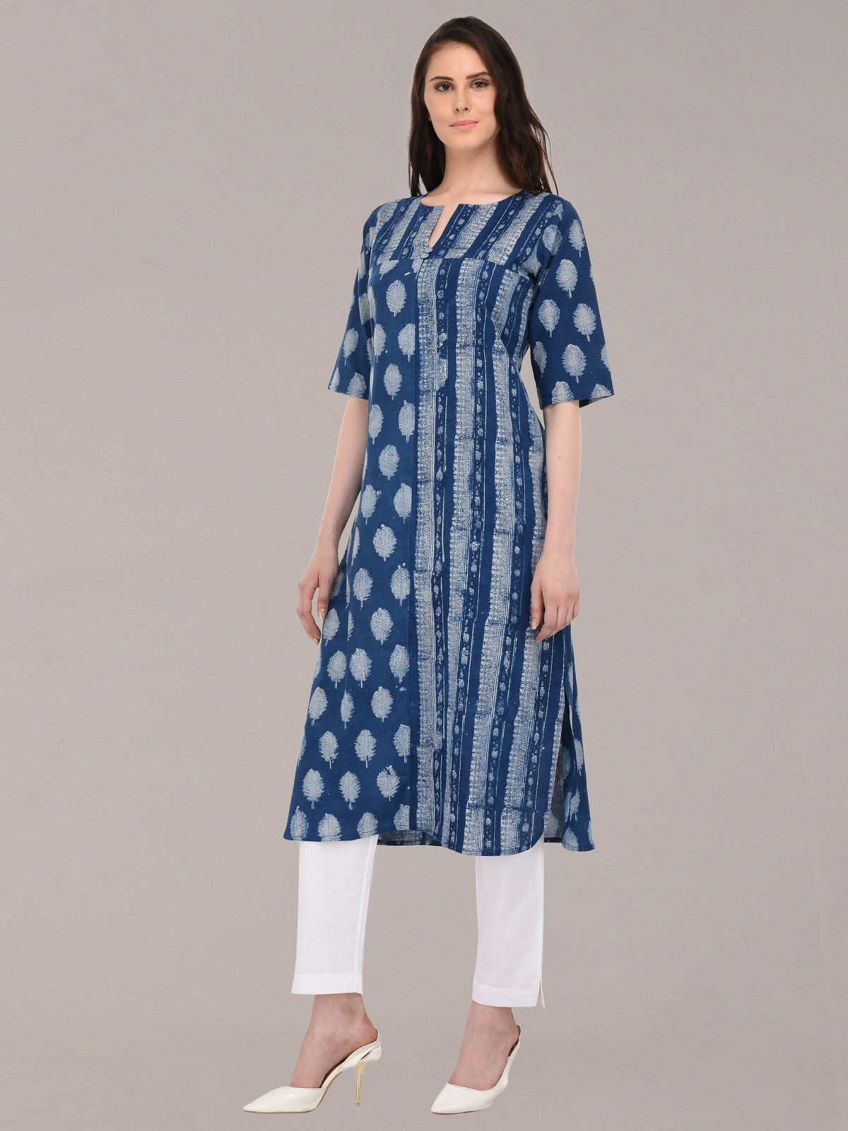 Azure indigo color hand-block printed cotton long kurti