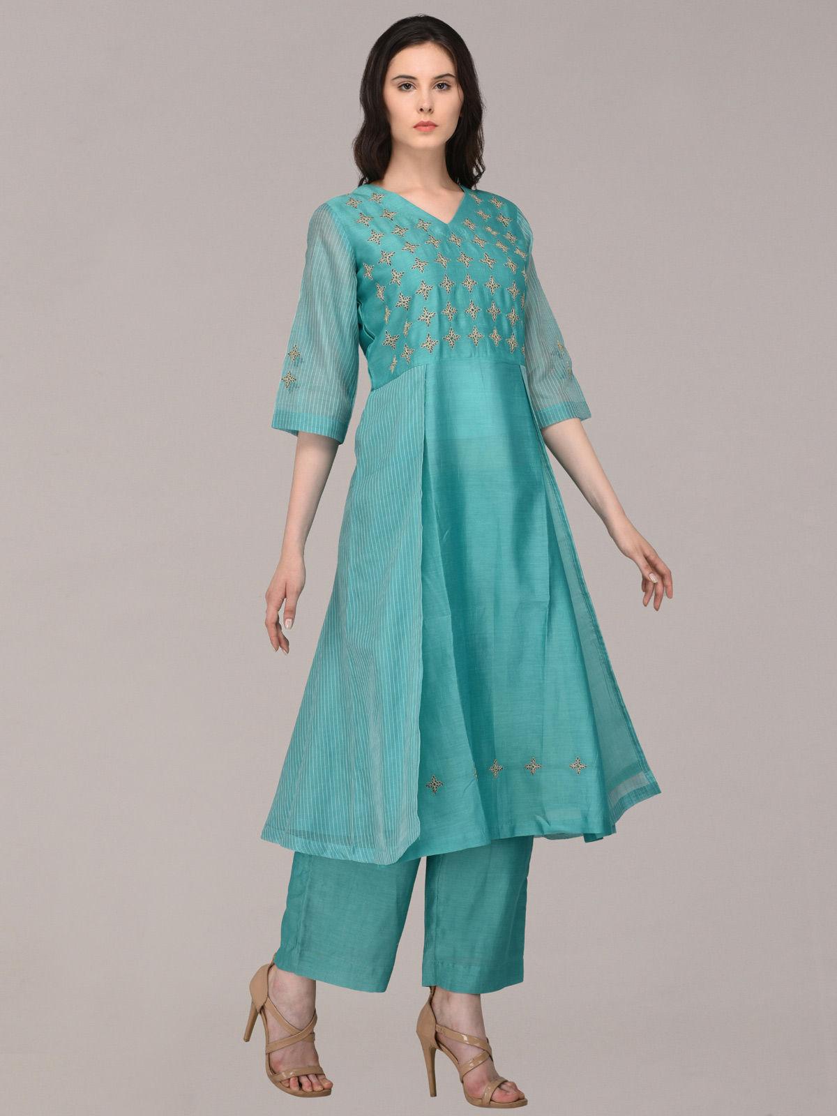 Maheshwari Embroided Turquoise set of 2