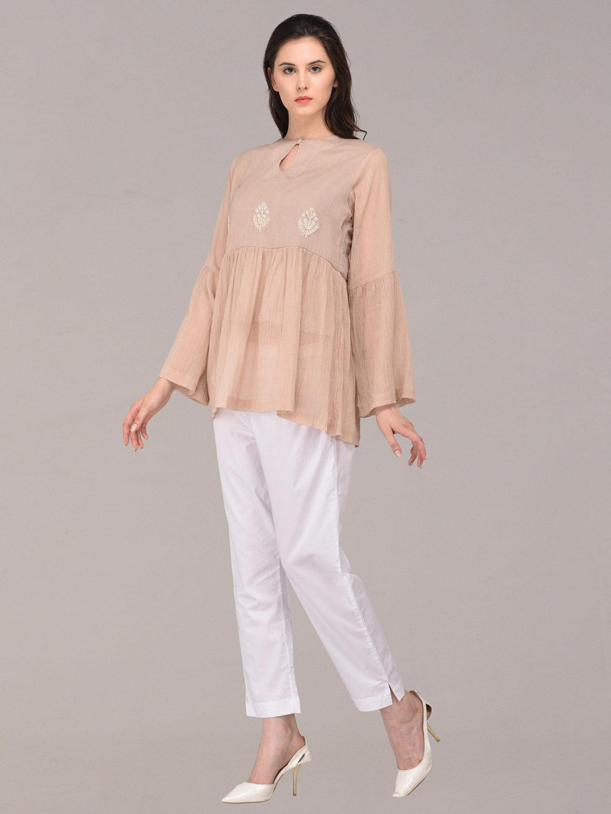 Panachee hand embroidered beige pure cotton top