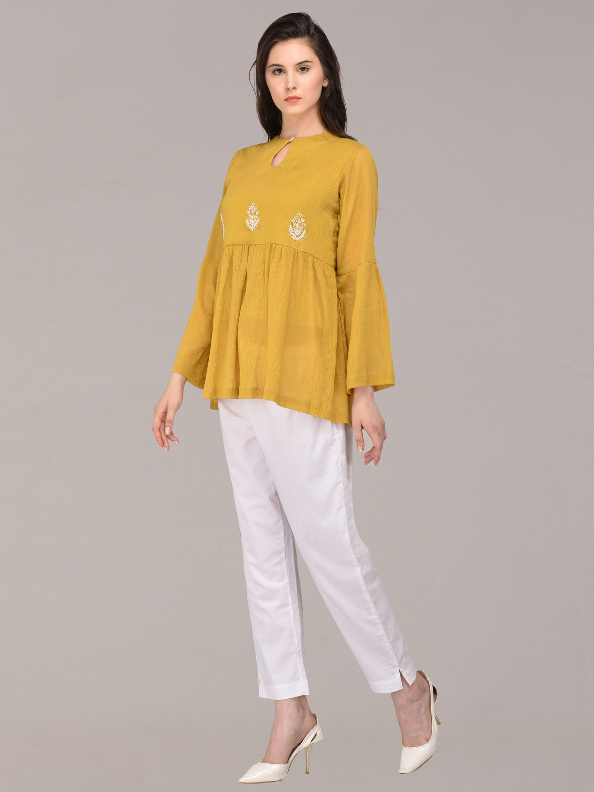 Panachee hand embroidered yellow pure cotton top