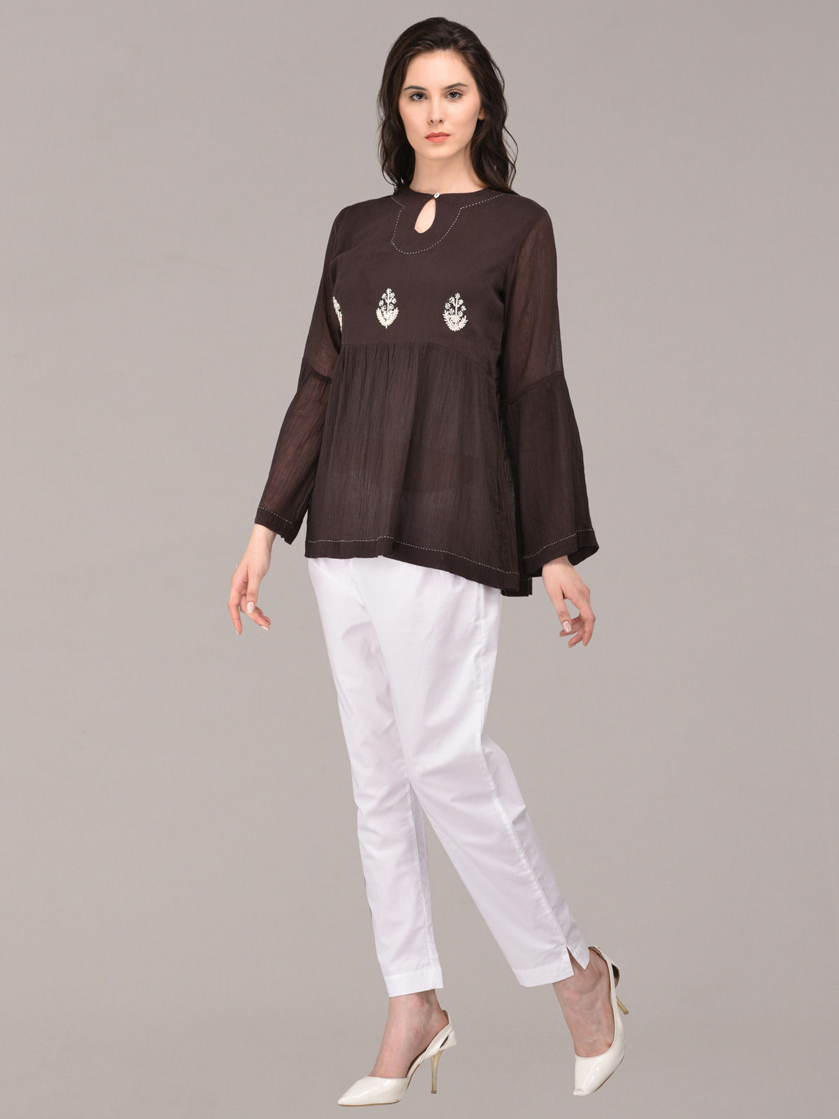 Panachee hand embroidered black pure cotton top