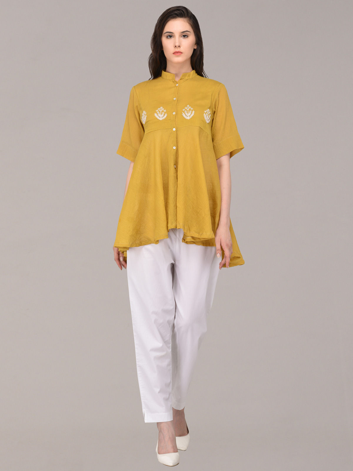 Panachee hand embroidered mustard pure cotton top