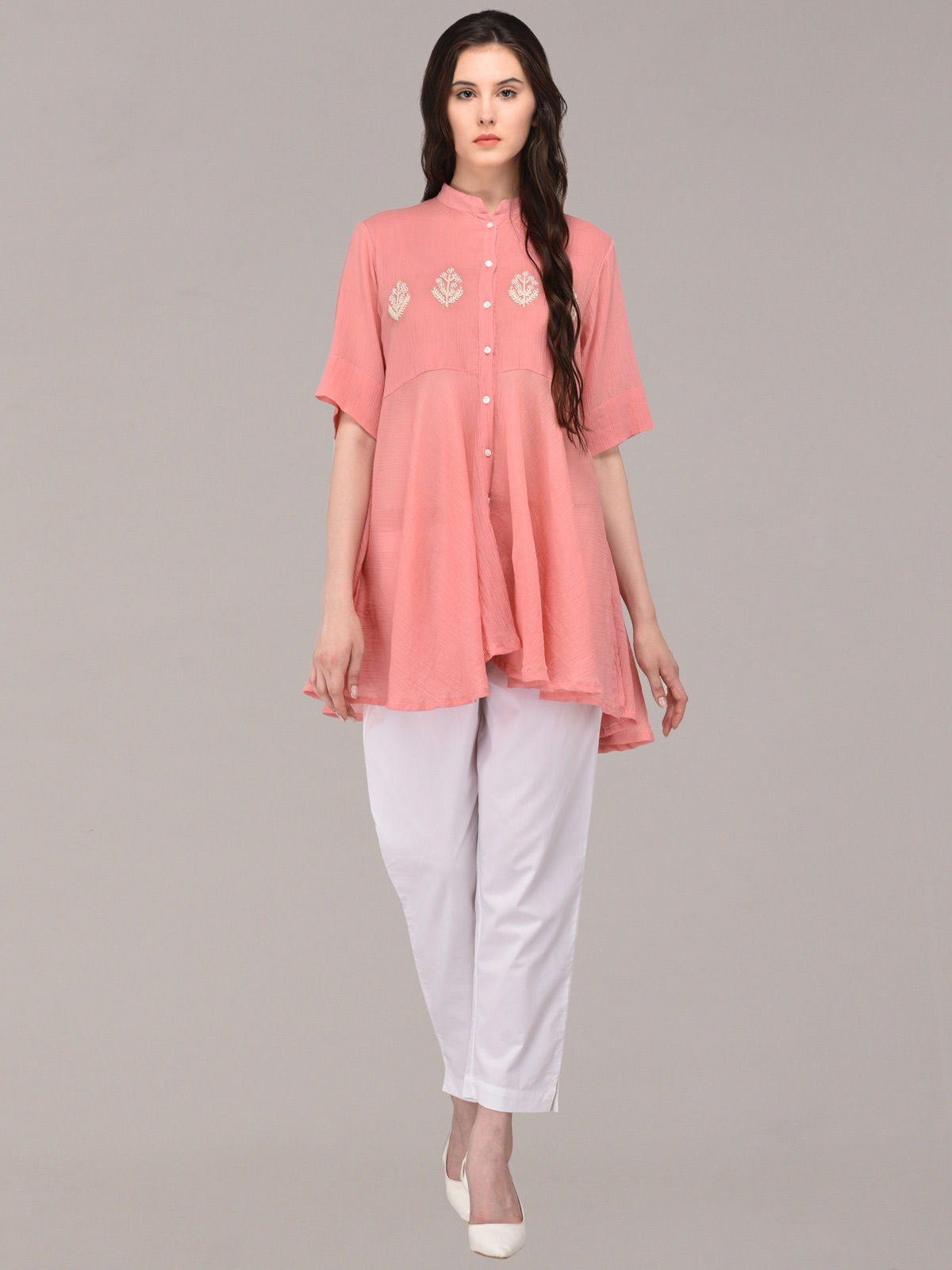 Panachee hand embroidered pink pure cotton top
