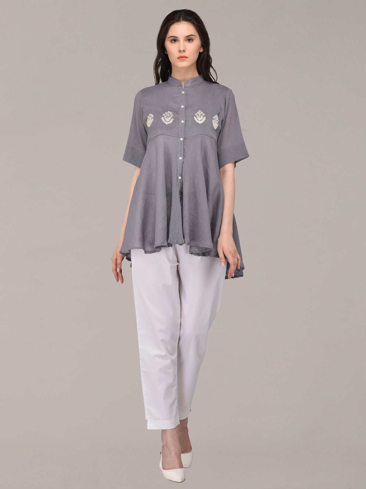 Panachee hand embroidered grey pure cotton top