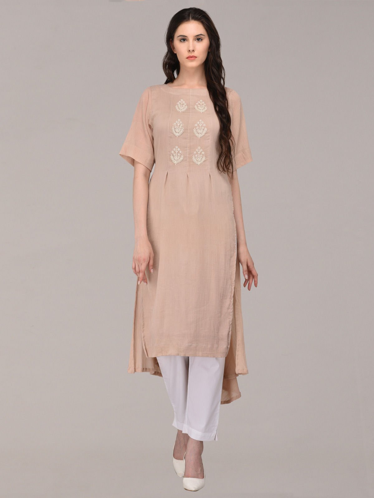 Panachee hand embroidered beige pure cotton kurti