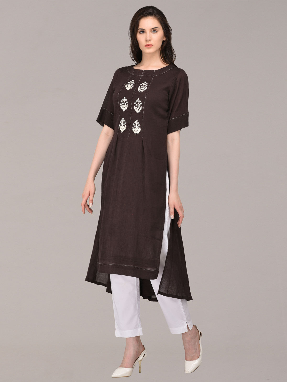 Panachee hand embroidered black pure cotton kurti