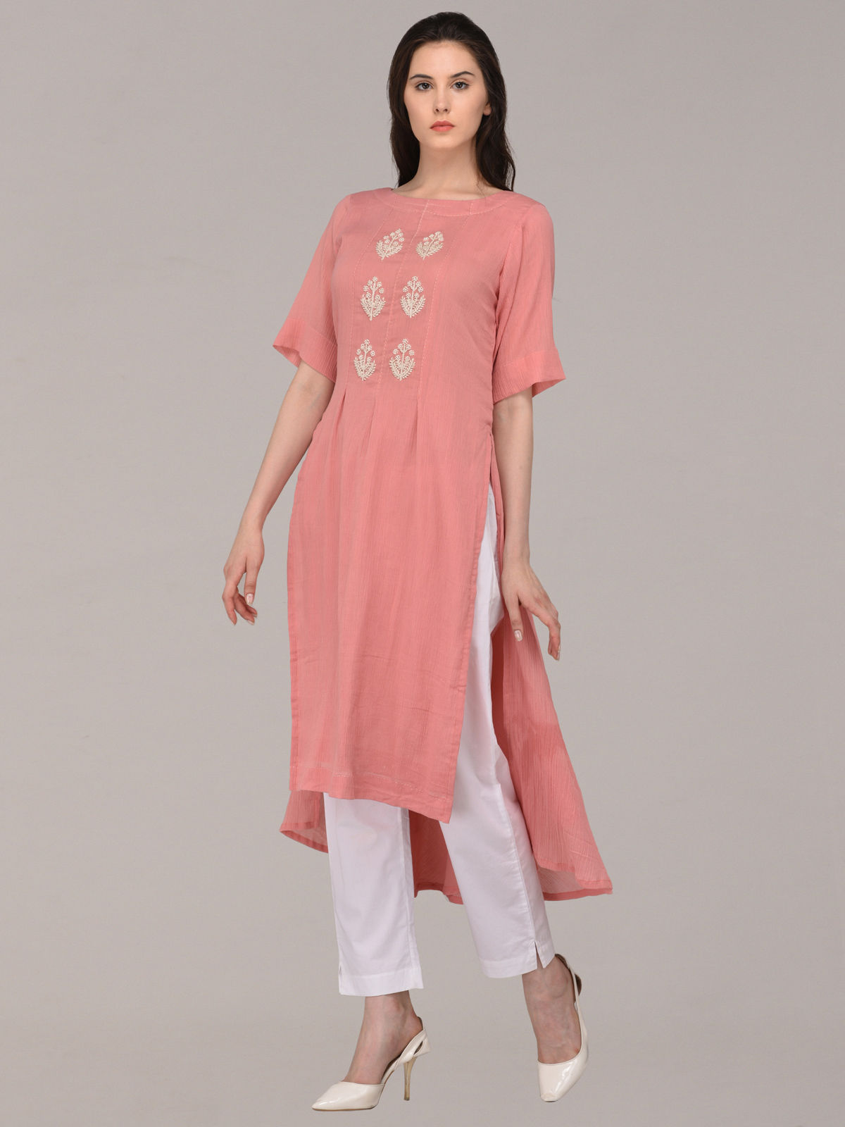 Panachee hand embroidered pink pure cotton kurti
