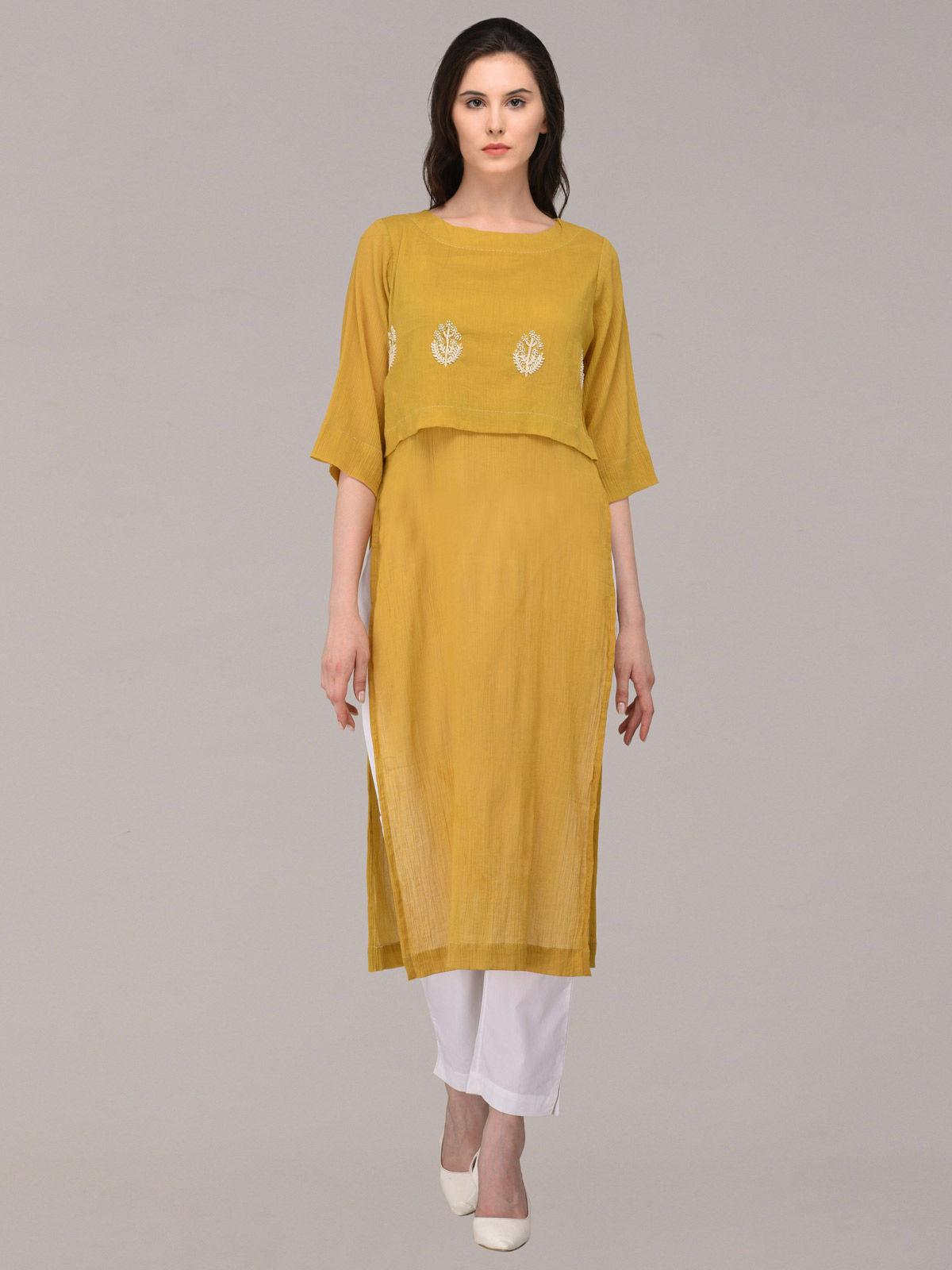 Panachee hand embroidered mustard pure cotton kurti