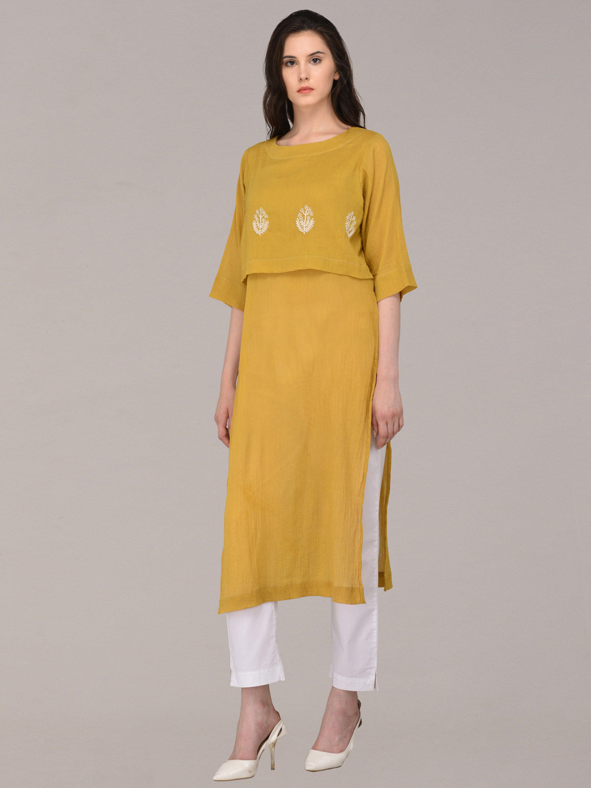 Panachee hand embroidered mustard pure cotton kurti
