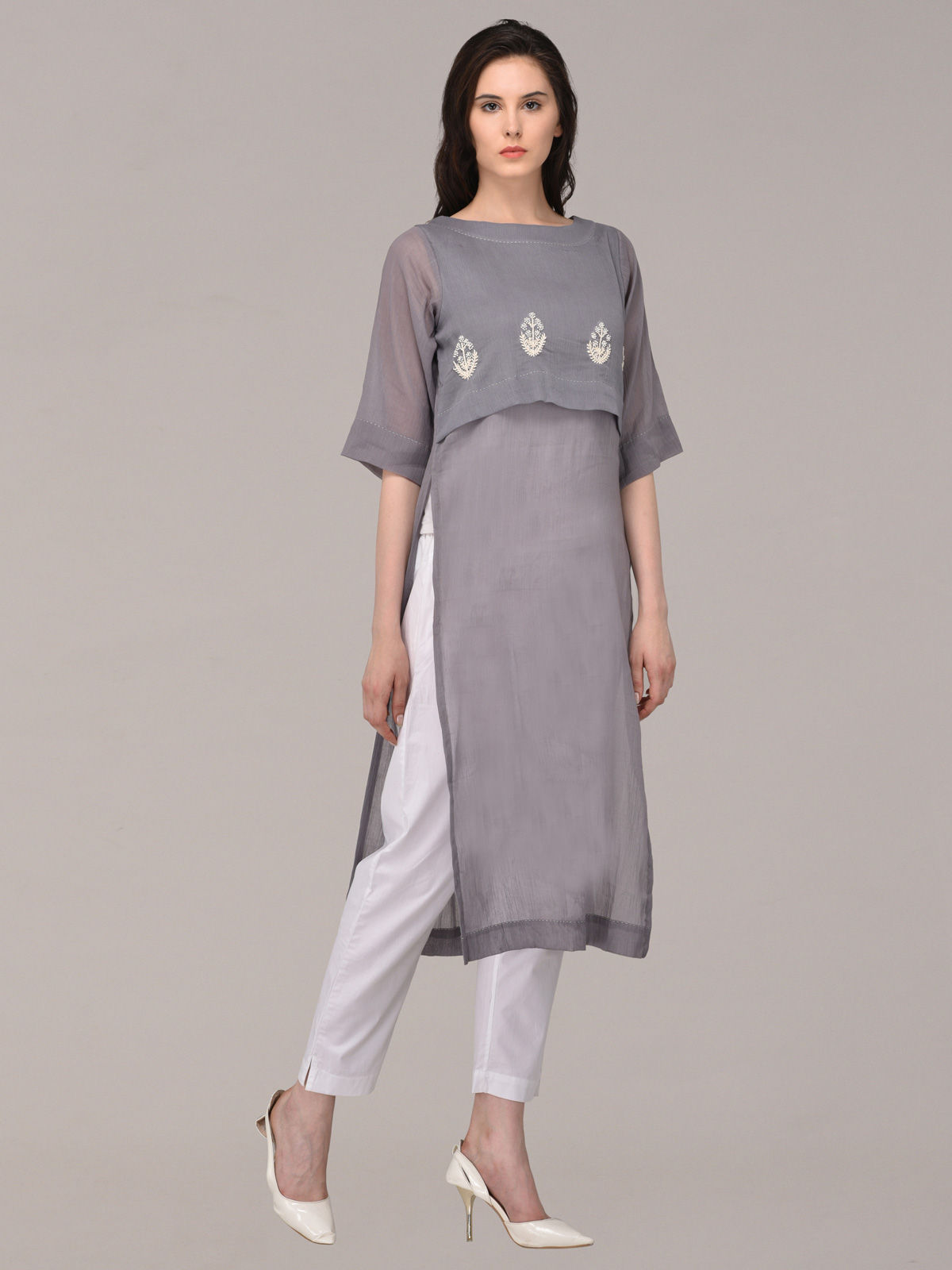 Panachee hand embroidered grey pure cotton kurti