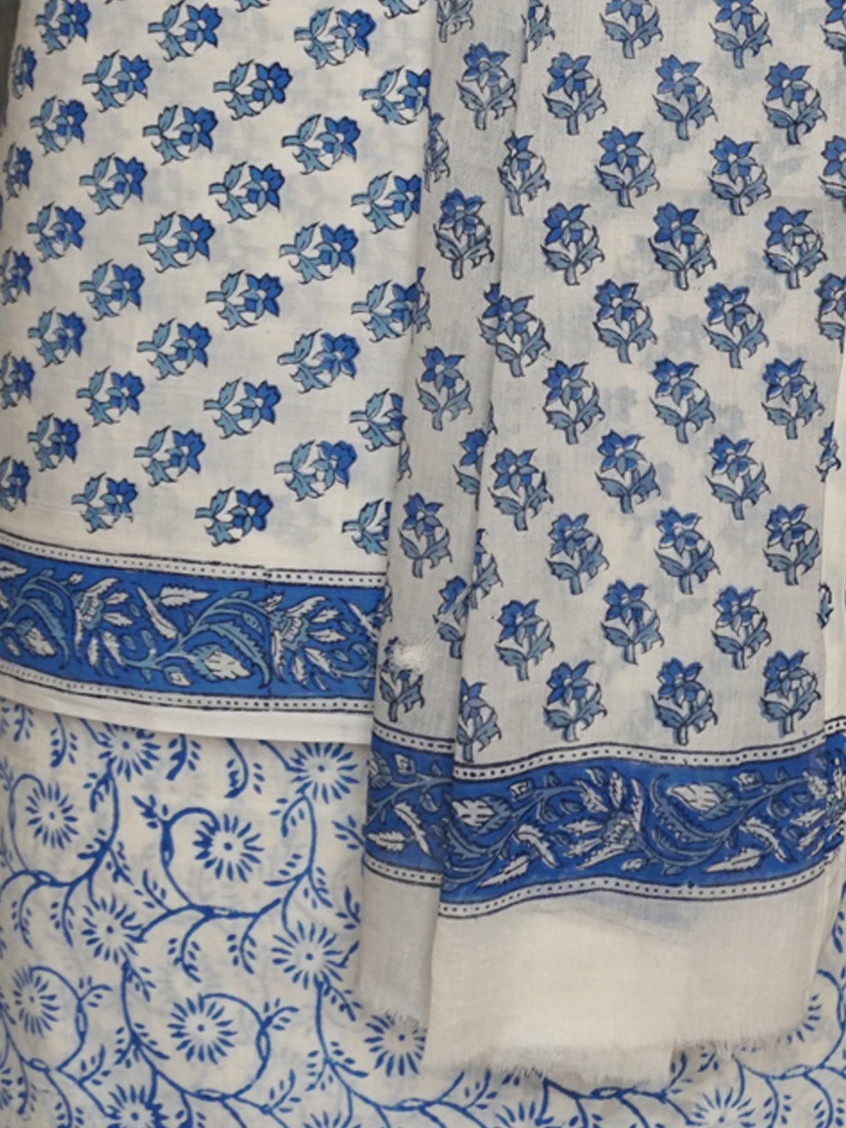 White blue block printed cotton dress material with dupatta