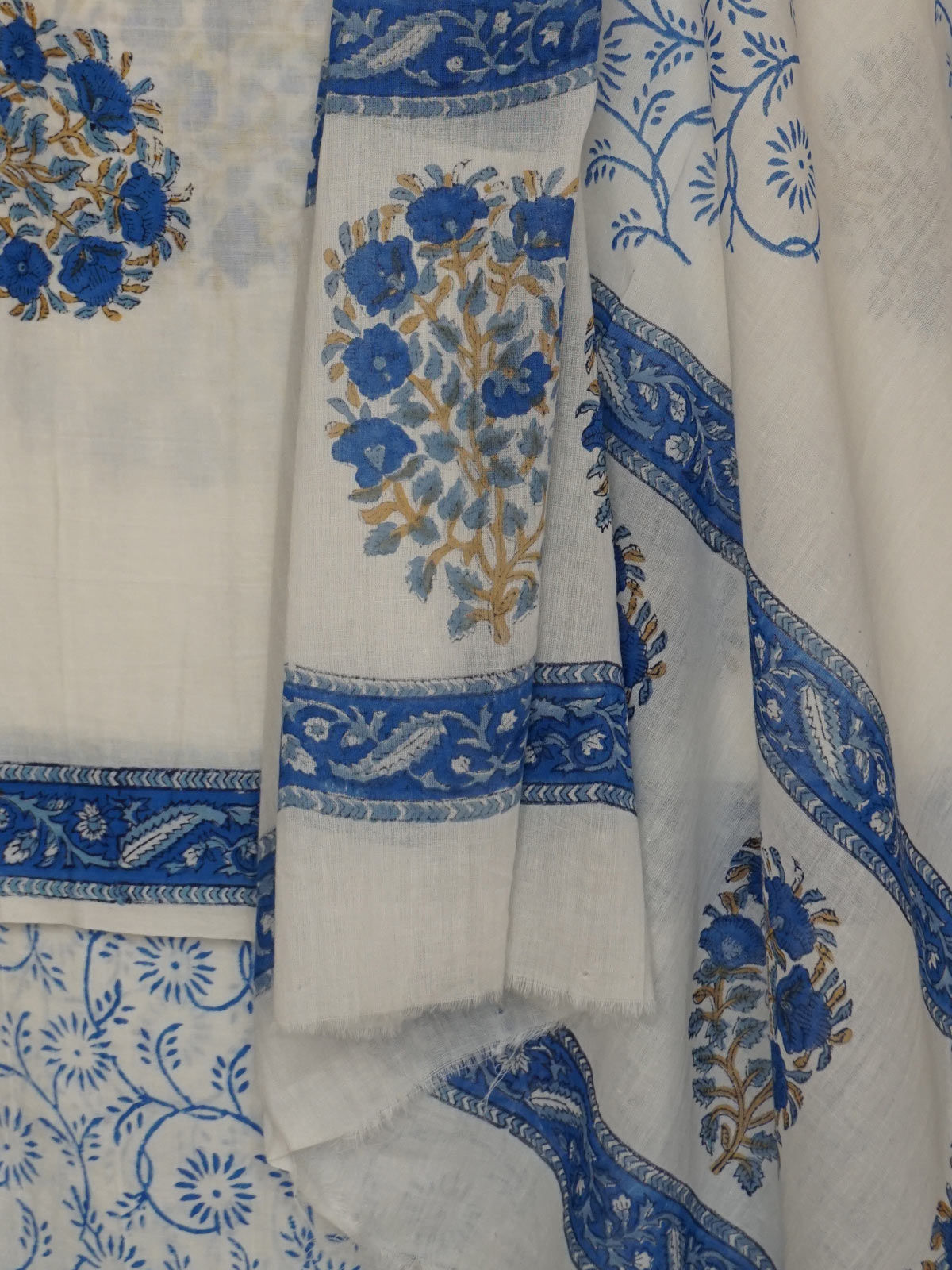 White & Blue block printed cotton dress material with dupatta