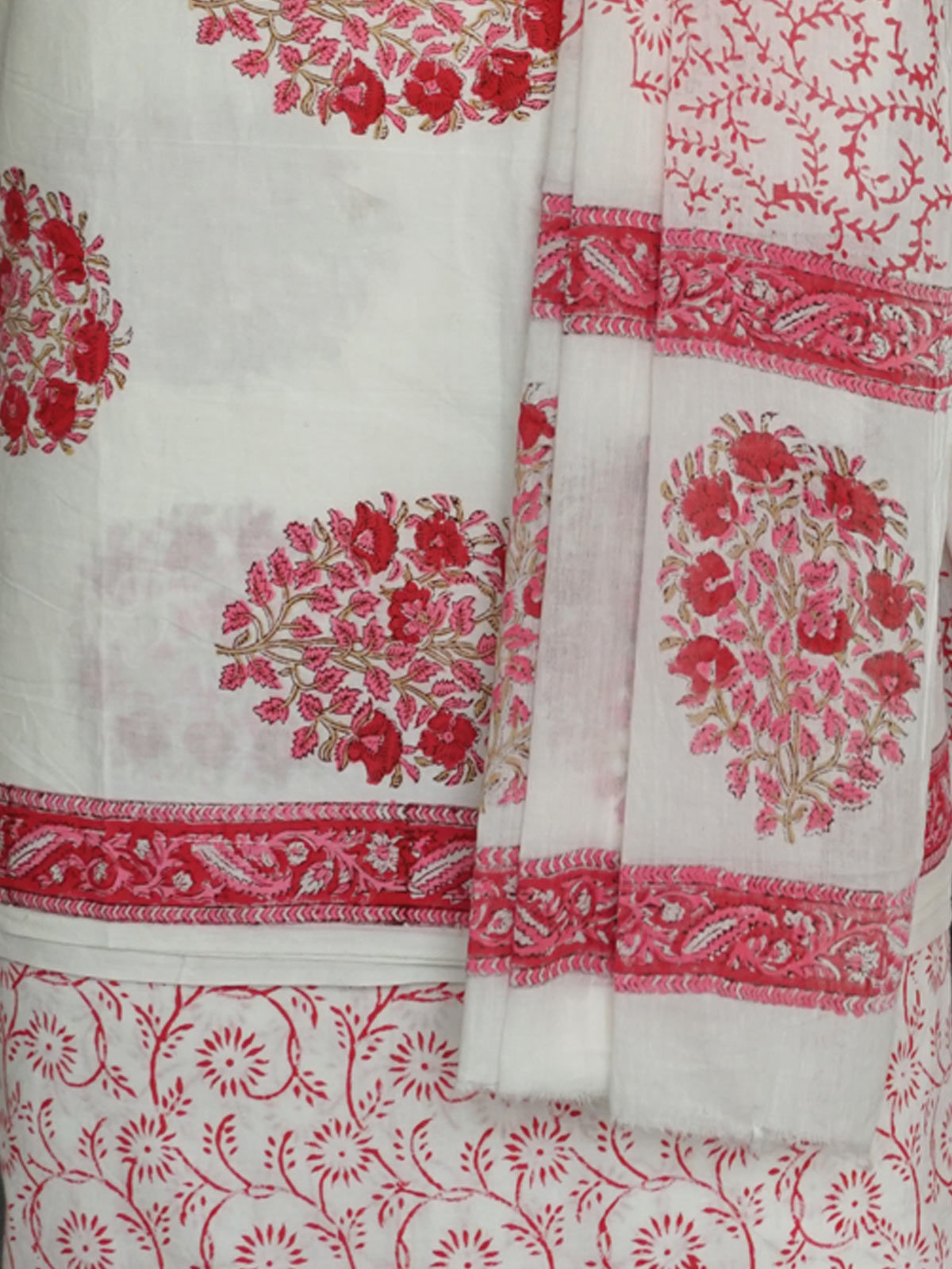 White red block printed cotton dress material with dupatta