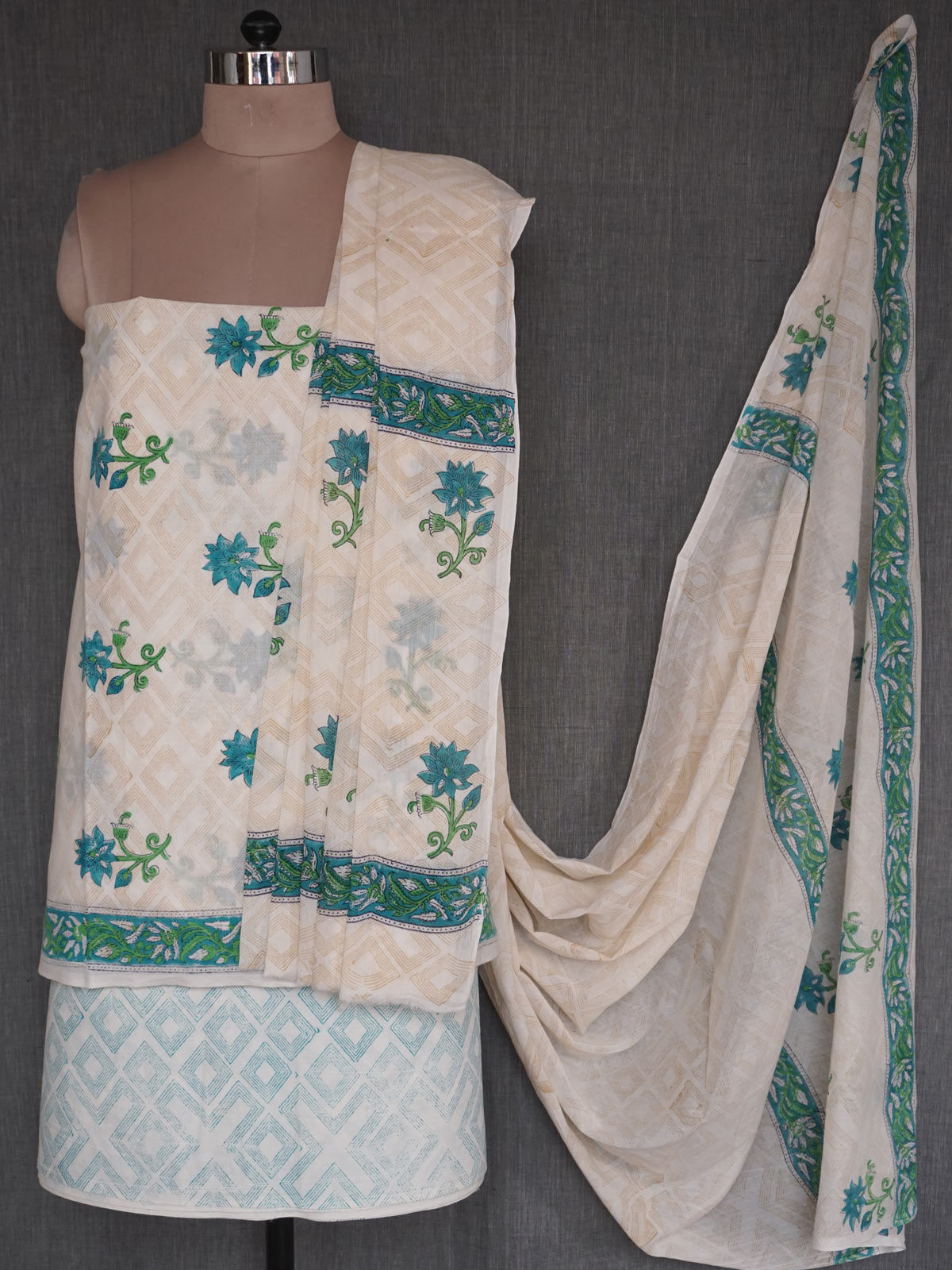 Off-White & Green block printed cotton dress material with dupatta
