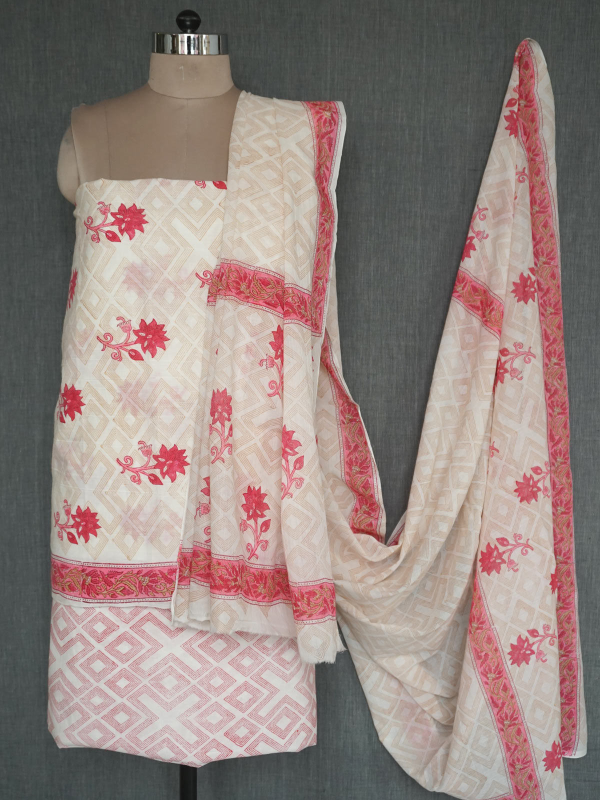 Red & White block printed cotton dress material with dupatta