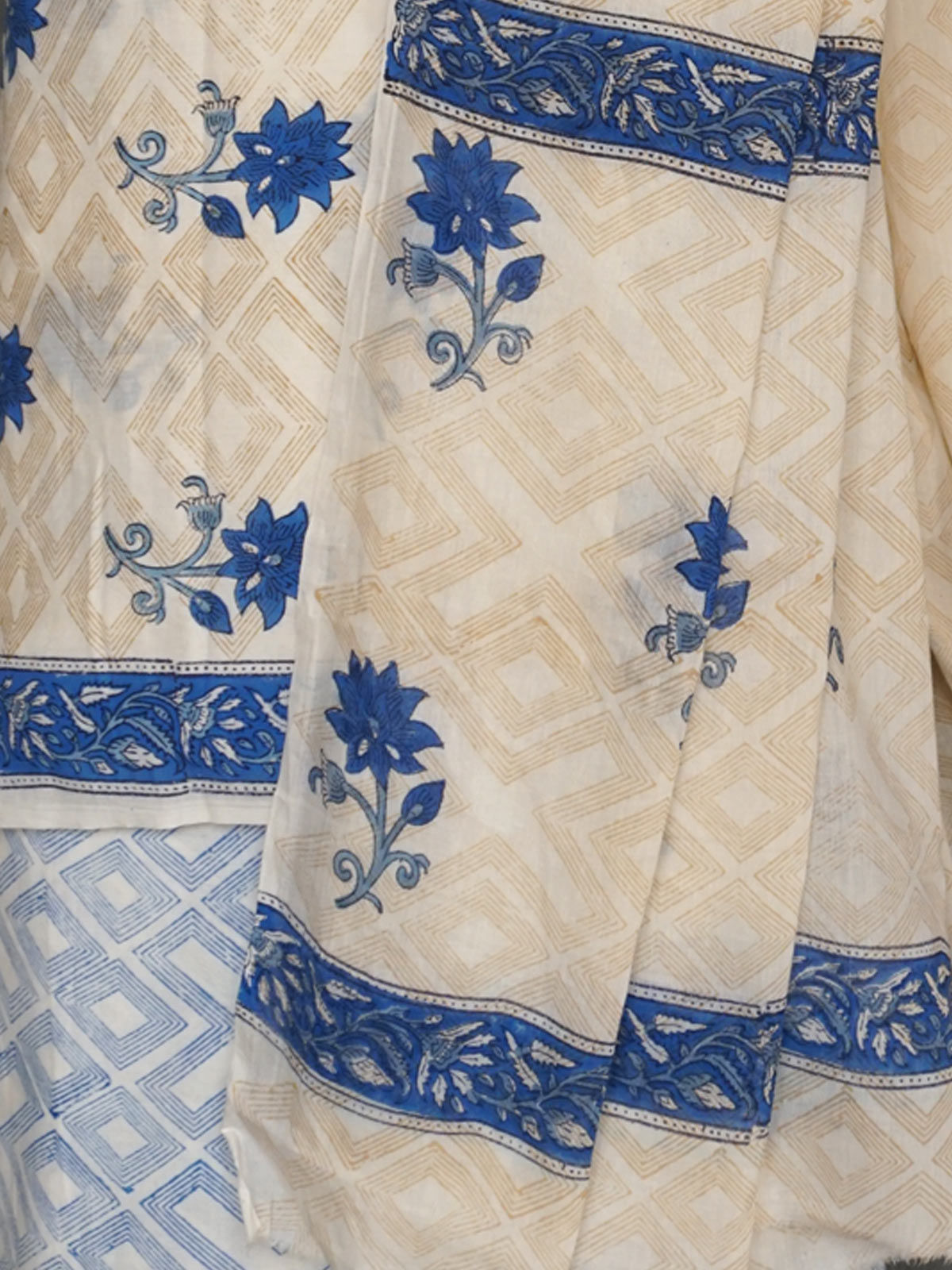 Off-White & Blue block printed cotton dress material with dupatta