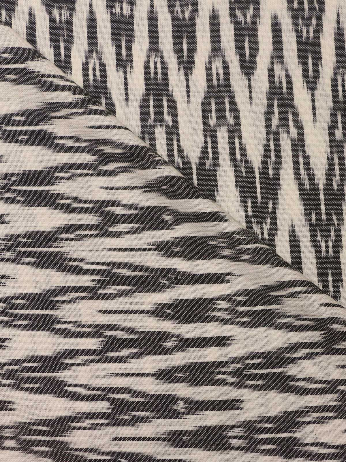 White grey ikat handloom cotton fabric