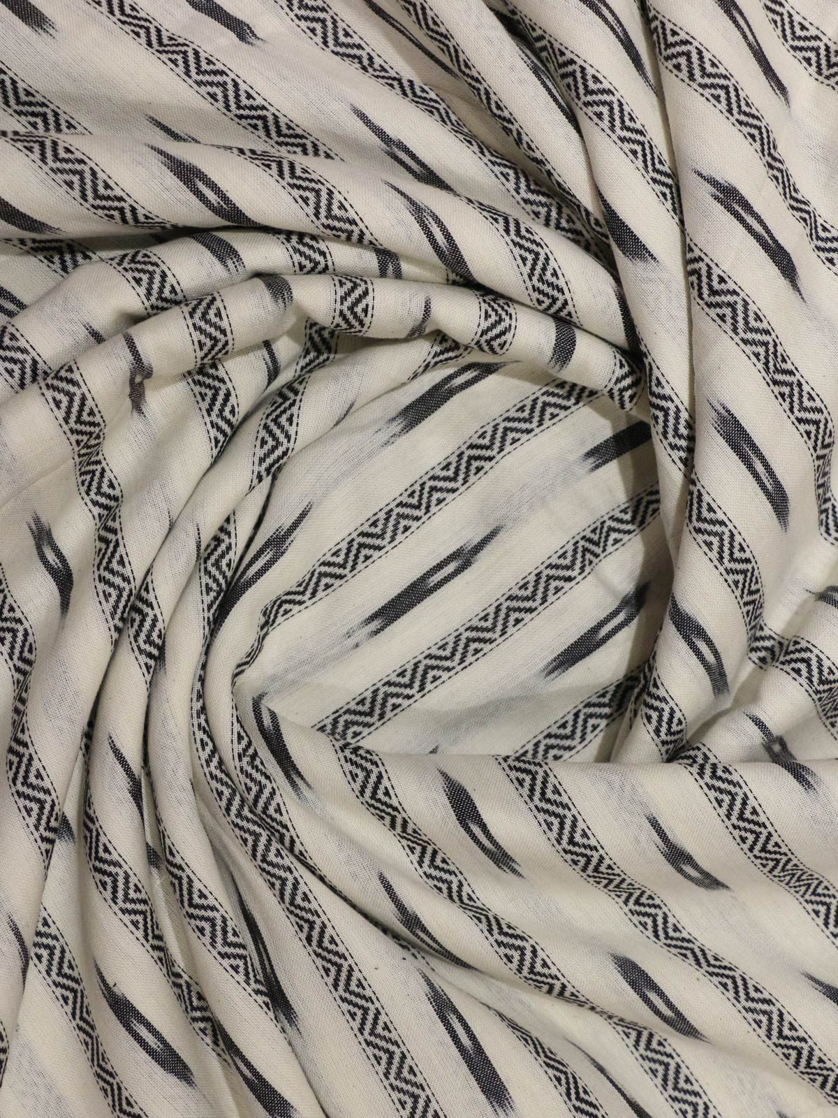 White & Black ikat handloom cotton fabric