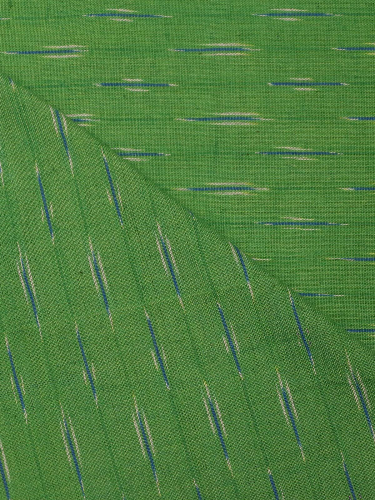 Green color ikat handloom cotton fabric