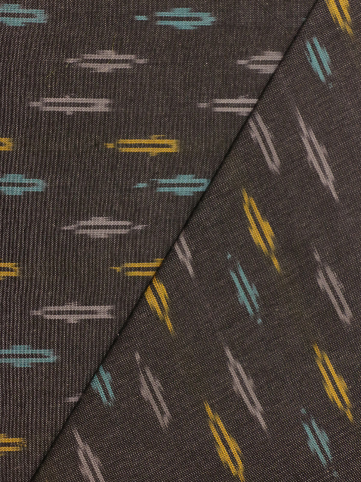 Black, teal and Mustard color ikat handloom cotton fabric