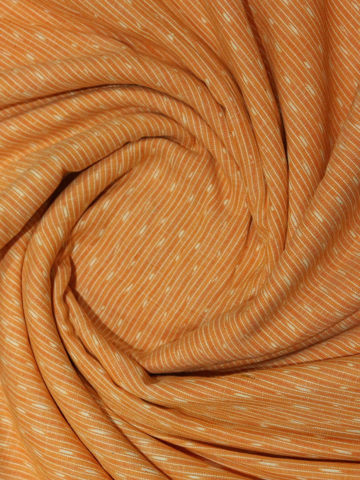 Soft Orange handloom ikat cotton fabric