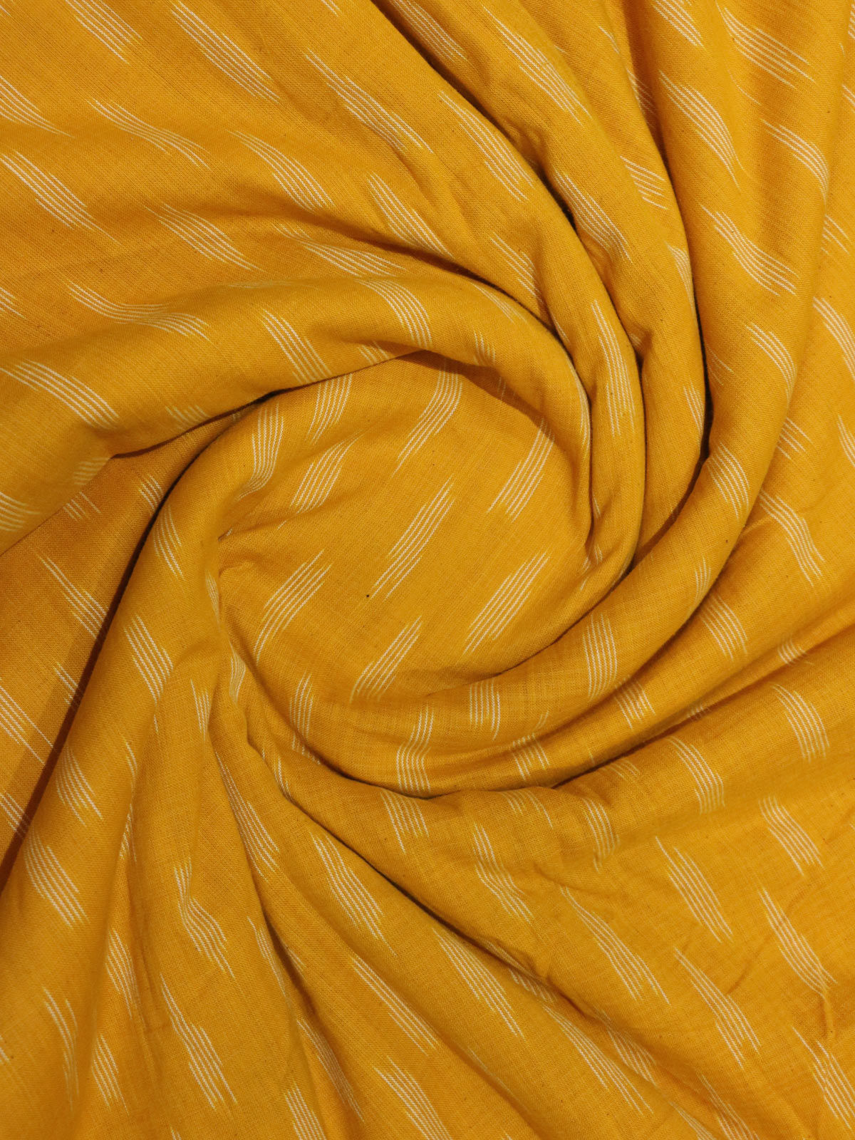 Mustard color ikat handloon cotton fabric