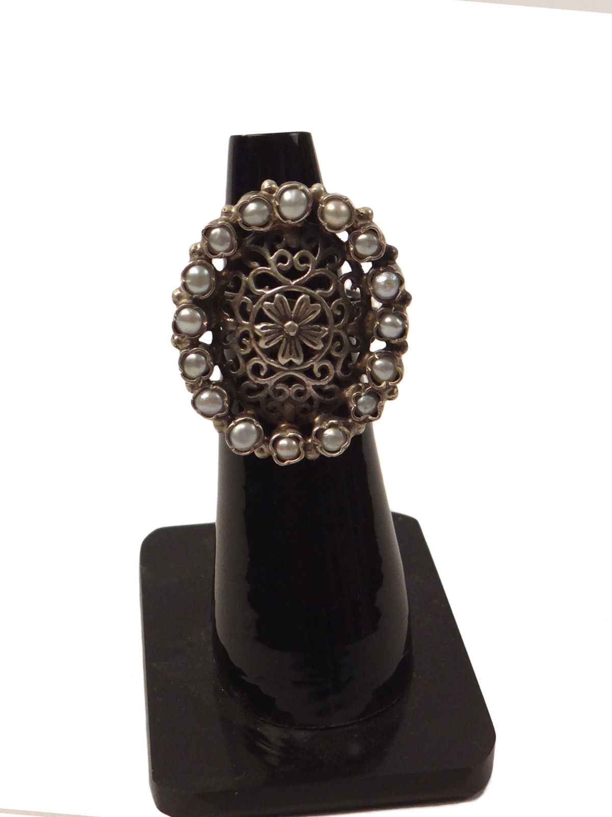 Indian August pure silver pearls studded ring