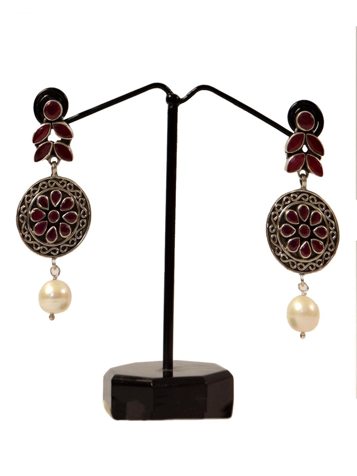 Indian August pure silver bali earrings