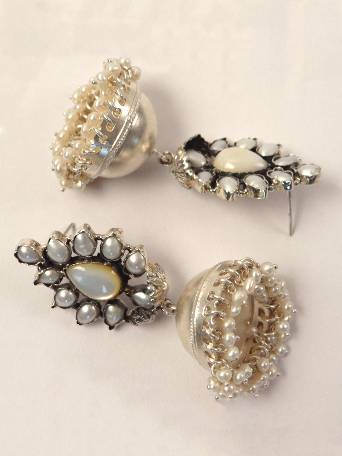 Indian August pure silver jhumka earrings