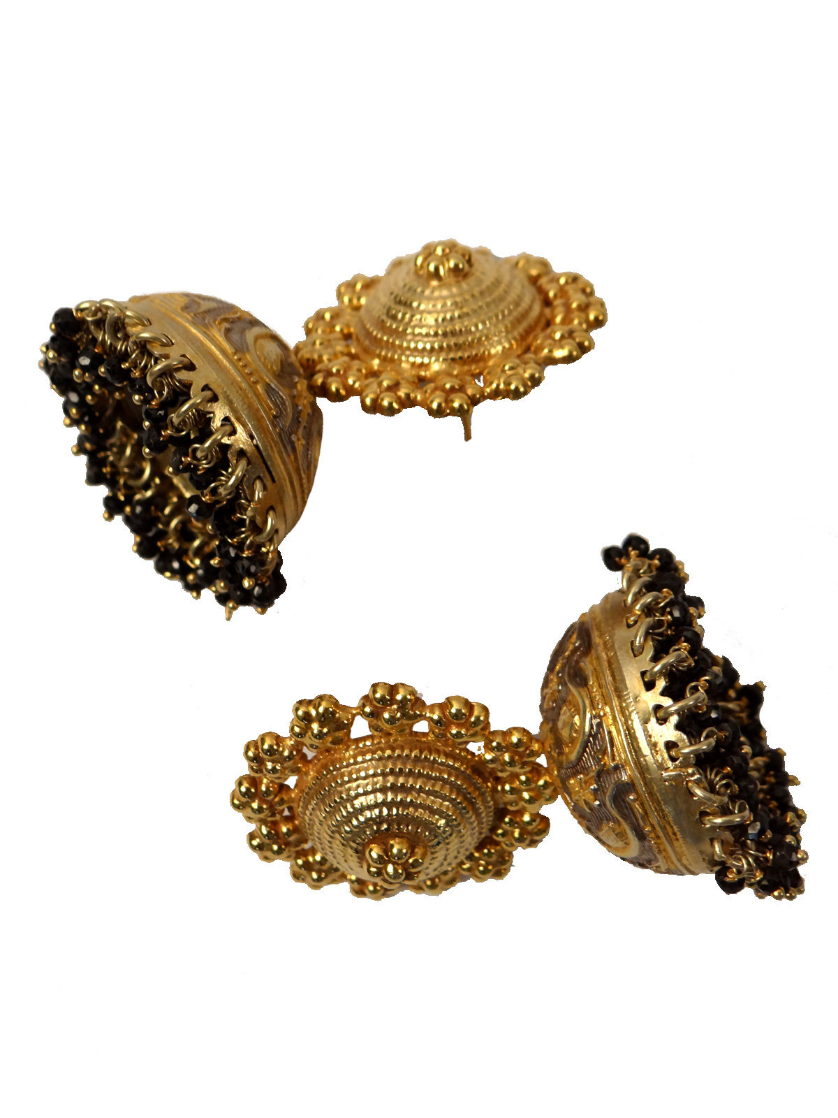 Indian August pure silver golden hue jhumka earrings