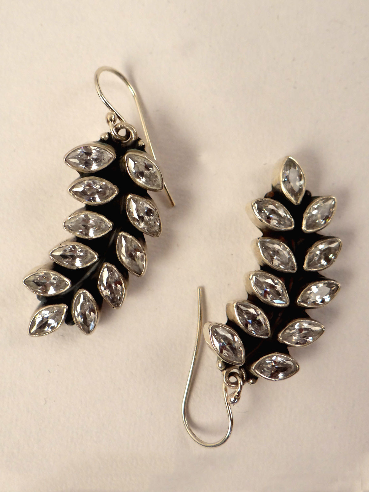 Indian August pure Silver leaf earrings