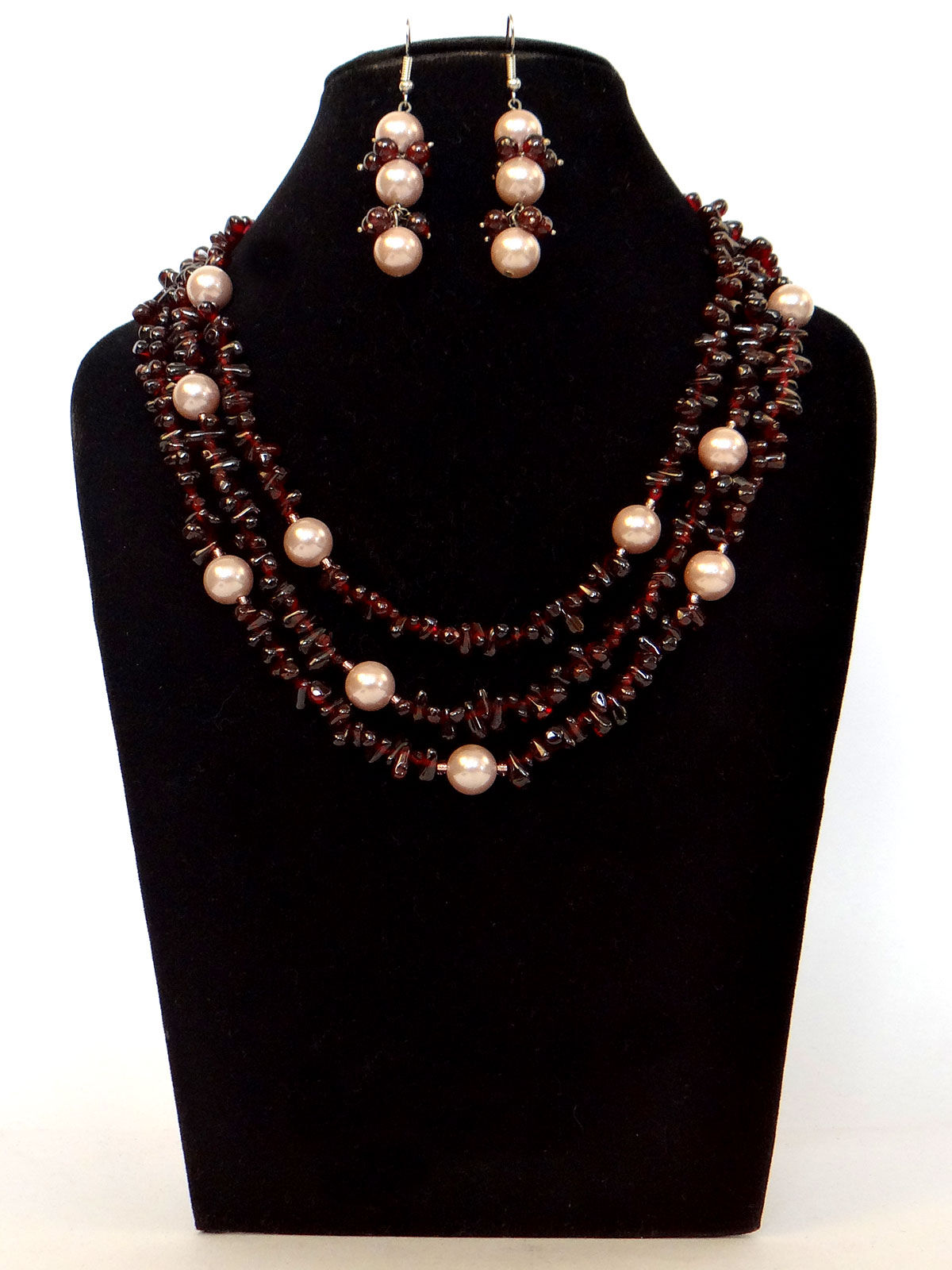 Alankriti garnet drops  shell pearl necklace with earrings set