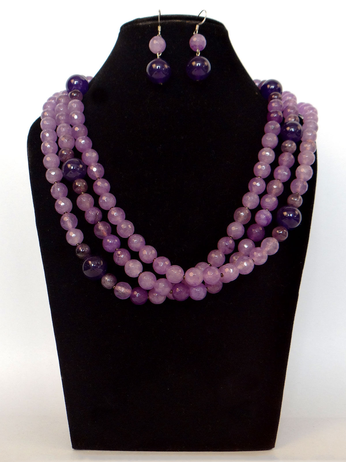 Alankriti grey agate with oval amethyst beads necklace with earrings set