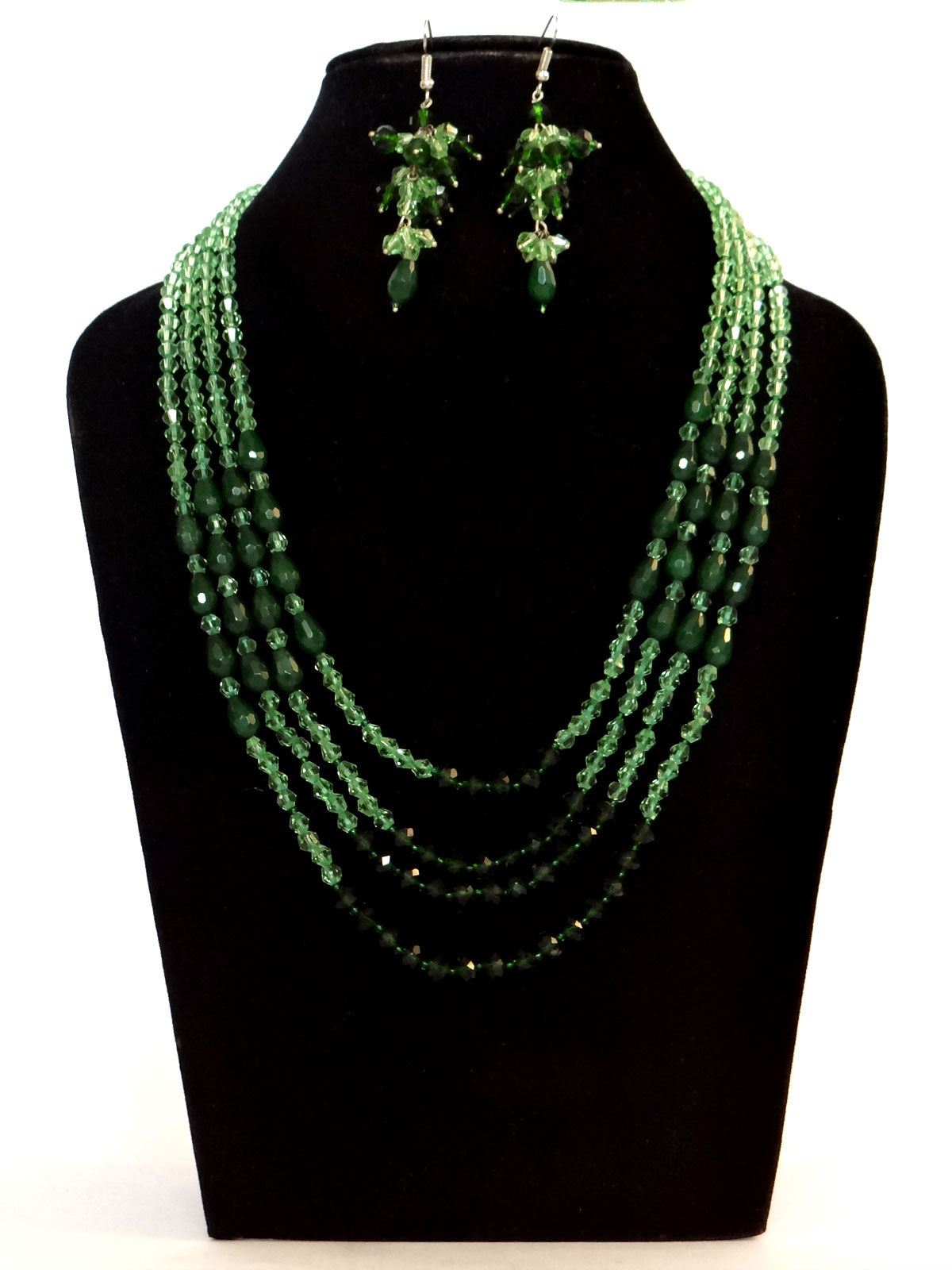 Alankriti light and dark green crystal with onyx drops