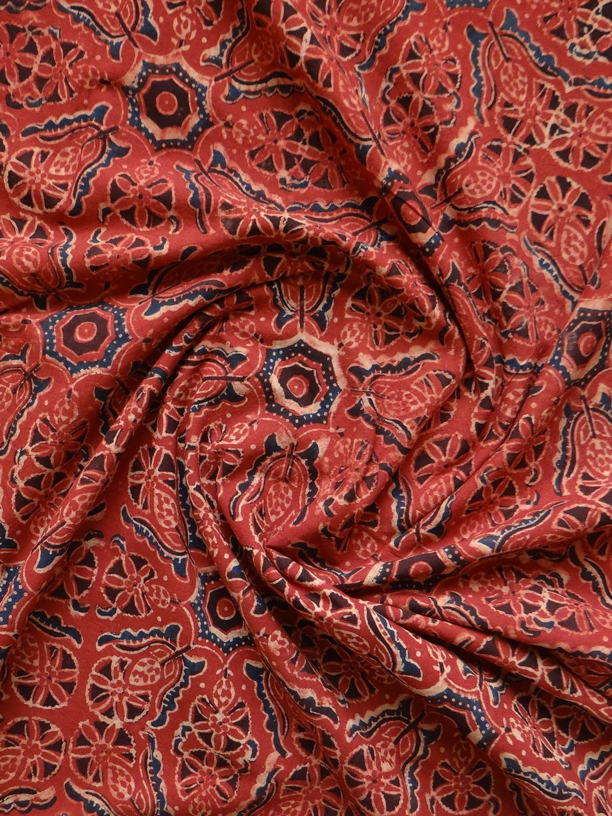 BLOCK PRINTED RED AJRAK FABRIC